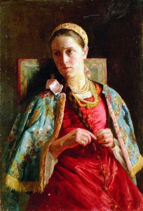 К. Маковский. Портрет молодой женщины в русском костюме